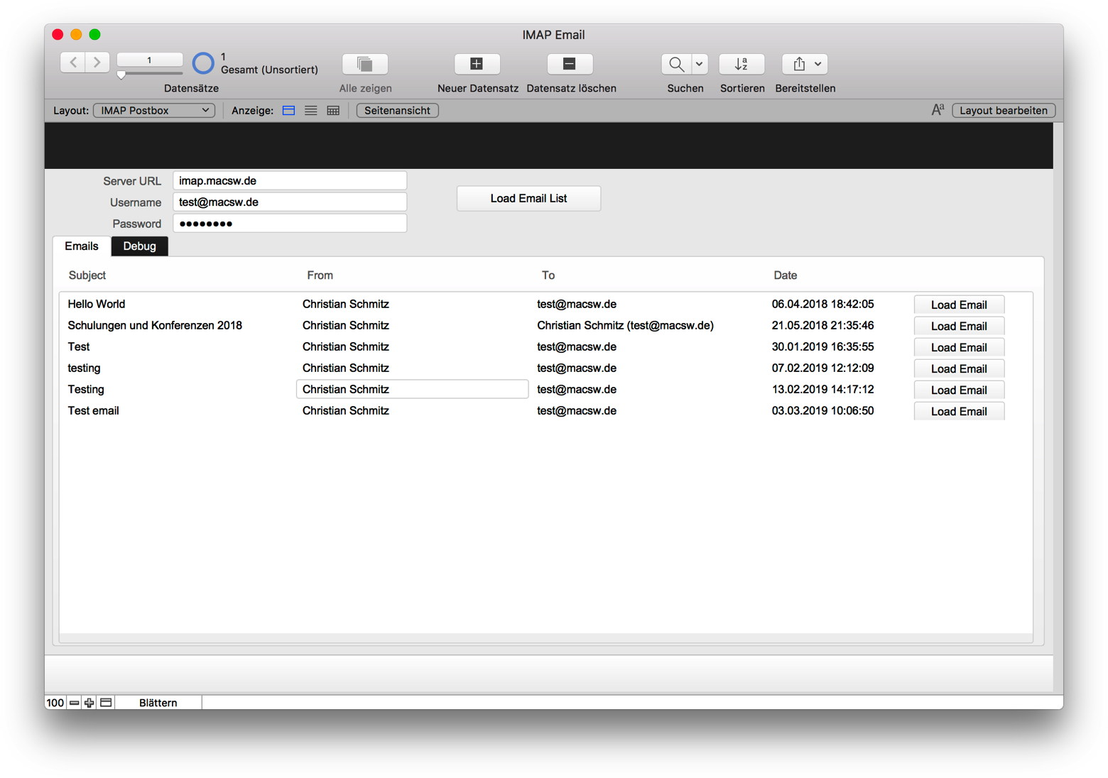 MBS Blog - Newer IMAP Email example for FileMaker