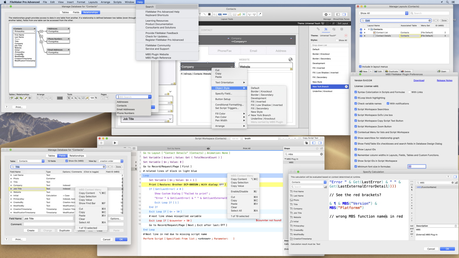 Filemaker Pro Courses monkeybread software - mbs filemaker plugin - syntax coloring